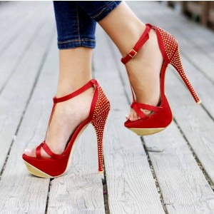 Red Studs Open Toe Stiletto Heel Platform T Strap Sandals