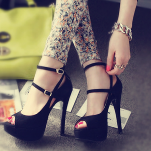 Women's Black Pumps Platform Buckle Ankle Strap Heels Shoes