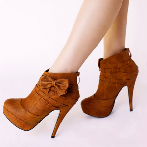 Tan Boots Platform High Heel Shoes Ankle Booties with Bow