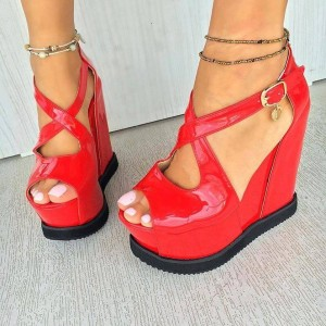 Red Wedge Heel Shoes Patent Leather Crossed-over Straps Sandals