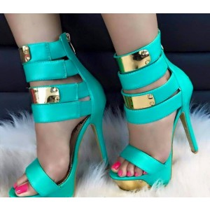 Cyan Metal Embellishment Strappy Sandals Super High Heels