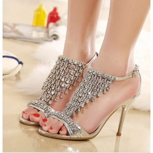 Silver Evening Shoes Jeweled Sandals T Strap Open Toe Stiletto Heels