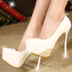 White Delicate Golden Flower Stiletto High Heels Bridal Shoes