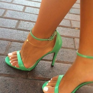 Women's Green Ankle Strap Sandals 4 inches High Heel Shoes