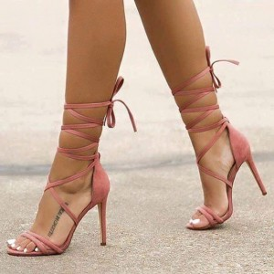 Women's Pink Soft  Sexy Stiletto Heels Open Toe Strappy Sandals