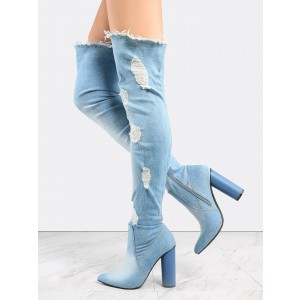 2017 Light Blue Denim Boots Block Heel Over-the-knee Boots