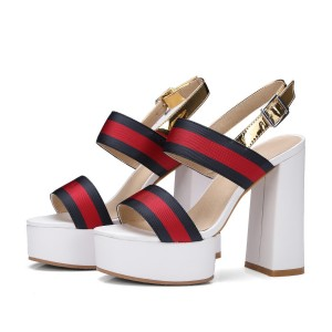 Women's Red and Golden Platform Block Heel Sandals