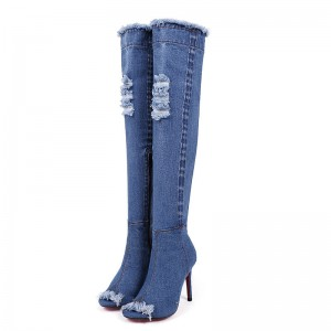 Women's Blue Jeans Stiletto Heels Over-The- Knee Denim Boots