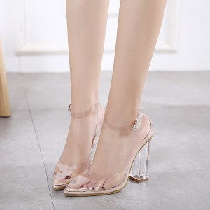 Clear Heels Ankle Strap Block Heel Pointy Toe PVC Pumps