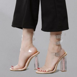 Women's White Clear  Buckles Sandals-Heels Open Toe Ankle Strap Sandals