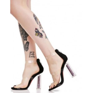 Women's  Black Clear Open Toe Block Heel Sandals
