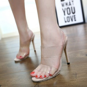 Sexy Open Toe Slingback Stilettos Clear Heels Transparent Sandals