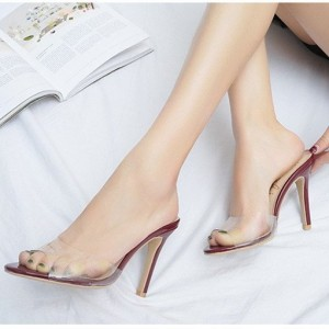 Women's Sexy Maroon Sole Stiletto Clear Heels Mule Sandals