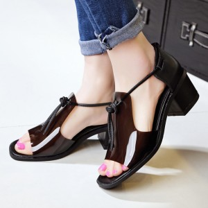 Women's Maroon Transparent   Open Toe Chunky Heels Sandals