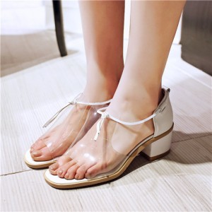 Transparent  Low Heels School Shoes Open Toe Sandals for Girls