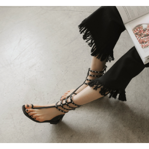 Black Rivets Flat Slippers Gladiator Sandals