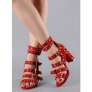 Red Block Heel Sandals Buckles Open Toe Studded Heels