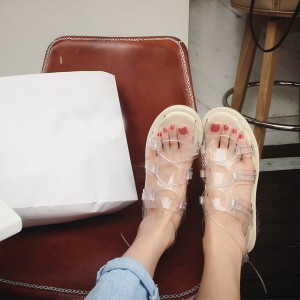 Women's Transparent Flat Sandals Lightweight Clear Shoes