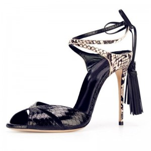 Black Strappy Sandals Tassels Python Peep Toe Stiletto Heels
