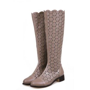 Brown Knee Boots Laser Cut Round Toe Vintage Summer Boots