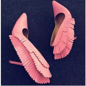Pink Stiletto Heels Pointy Toe Fringe Pumps for Party