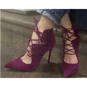Burgundy Lace up Heels Pointy Toe Suede Pumps Stiletto Heels