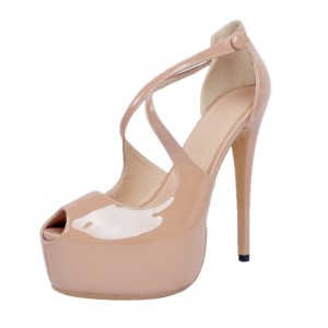 Nude Platform Sandals Cross-over Strap Patent Leather High Heel Shoes