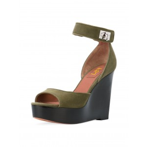 Vintage Green Wedge Sandals Ankle Strap Suede Platform Heels