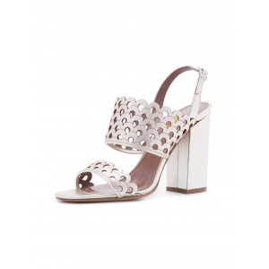 Silver Wedding Sandals Hollow out Slingback Block Heels