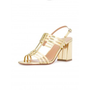 Golden Slingback Block Heel Sandals School Shoes