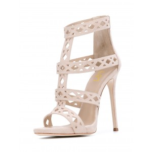 Beige T Strap Sandals Hollow out Open Toe Stiletto Heels