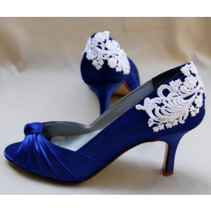 Royal Blue Satin Front Bow Lace Kitten Heel Wedding Shoes
