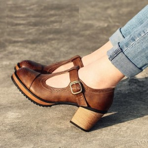 Brown Vintage Heels Mary Jane Pumps T Strap Block Heels