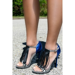 Black and Royal Blue Fringe Sandals Open Toe Stiletto Heels