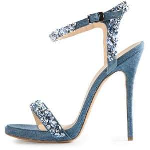 Blue Jean Heels Rhinestone Ankle Strap Denim Stiletto Heel Sandals