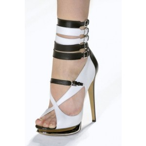 White and Brown Platform Sandals Buckles Open Toe Stiletto Heels