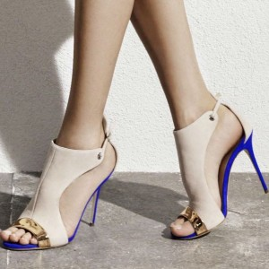 Beige Stiletto Heels Open Toe Suede Sandals