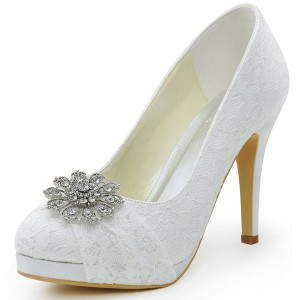 White Bridal Shoes Lace Heels Rhinestone Pumps with Platform