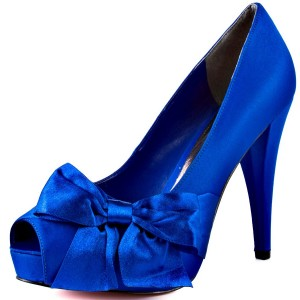 Royal Blue Wedding Heels Peep Toe Satin Chunky Heel Pumps with Bow