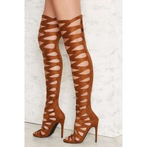 Women's Brown Hollow-out Over-The-Knee Stiletto Heel Gladiator Boot
