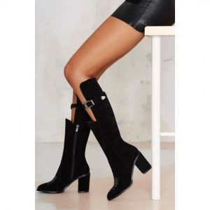 Black Chunky Heel Boots Suede Knee-high Boots with Buckle