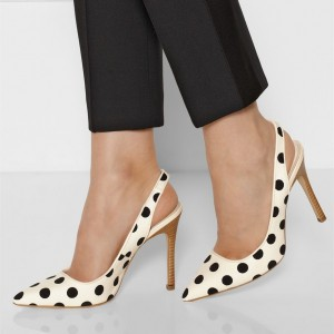 Beige Polka Dots Stiletto Heels Dress Shoes Pointy Toe Slingback Pumps