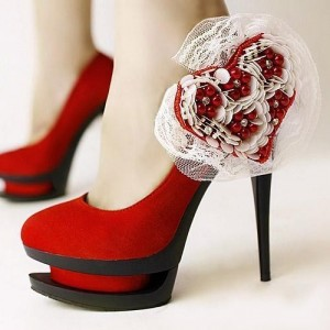 Red Evening Shoes Floral Suede Platform Pumps Stiletto Heels