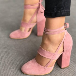 Pink Block Heel Sandals Suede Closed Toe Strappy Heels Pumps