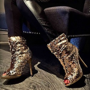 Dark Champagne Peep Toe Booties Sequined Stiletto Heel Slouch Boots