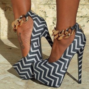 Grey and White Stripes Metal Ankle Strap Heels Platform Pumps