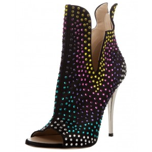 Black and Gold Peep Toe Heels Ankle Booties with Colorful Rhinestones