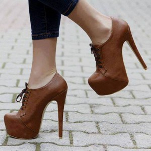 Light Brown Vintage Heels Lace up Ankle Platform Boots