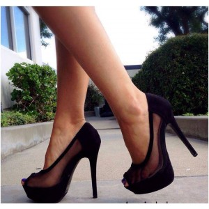 Black Platform Heels Peep Toe Lace Pumps Stiletto Heels