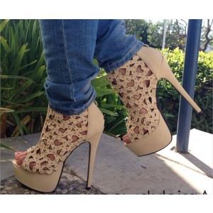 Khaki Platform Heels Heart Shaped Hollow out Stiletto Heels Pumps